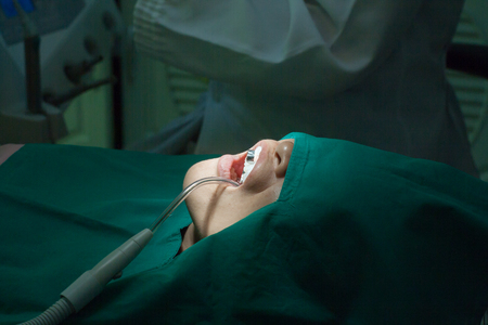 disease patients: Patients awaiting treatment with a dental laboratory(Low light) Stock Photo
