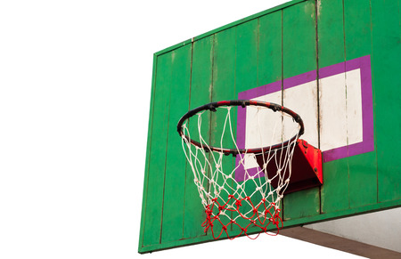 hoops: Basketball hoop isolated white background. Hoops basketball ball down the old stadium.
