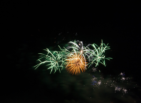 fire crackers: Night Fireworks show scene. Celebrated by a grand fireworks display (copy space).