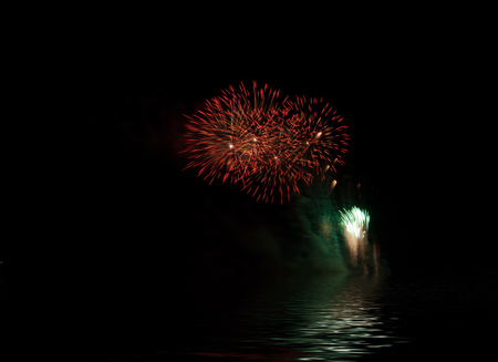 Fireworks, festive celebration light show at night, Works great and beautiful fireworks display, Flood water effects