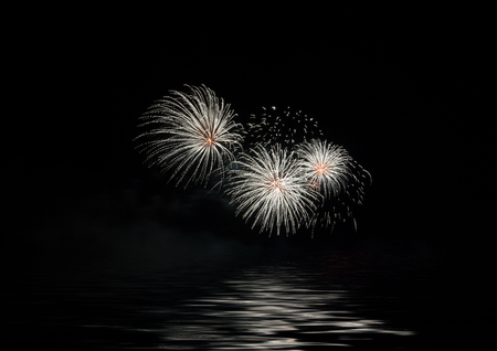 Night Fireworks show scene. Celebrated by a grand fireworks display copy space.