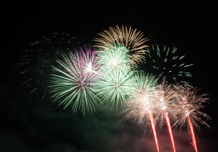 Beautiful fireworks scattered in the dark sky