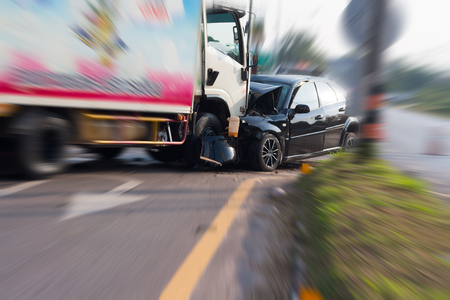 Udonthani, Thailand, November 1, 2017 : A serious accident on the highway of trucks and cars. Use blur technique.