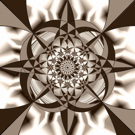 bias: Figure geometric imagination in sepia tone. Prospective collection. Stock Photo