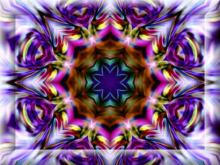 efficiently: Geometric abstract ornament. Kaleidoscope. Light flower.    A wonderful harmony of colors. 3D Frame.    Stock Photo