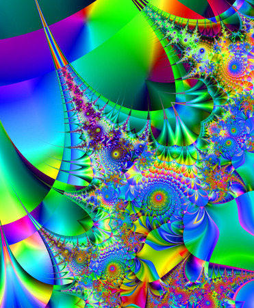 originally: Beautiful fractal fantastic decorative ornament style computer graphics. Stock Photo