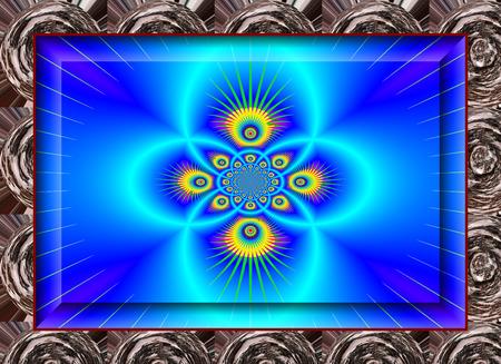 grandeur: Eddy currents in blue tones. enchanting fractal perspective. Stock Photo