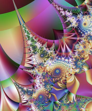 컴퓨터 그래픽:  Beautiful fractal fantastic decorative ornament style computer graphics