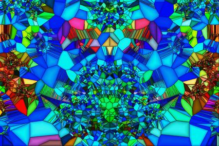 irregular shapes: Imagen Vidrio manchado del volumen multicolor de formas irregulares de dibujos geom�tricos. Foto de archivo