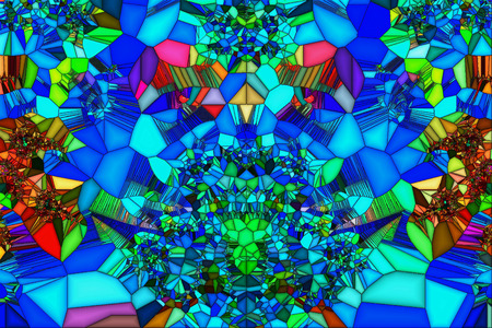 irregular shapes: Stained glass image of multi-colored volume of irregular shapes of geometric drawings. Stock Photo