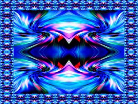 splendor: Abstract geometric ornament. Gradient color perspective. Original-Hintergrund, multicolored. Broken lines.  Cosmic whirlwind.  Eddy currents in blue.  Original frame.