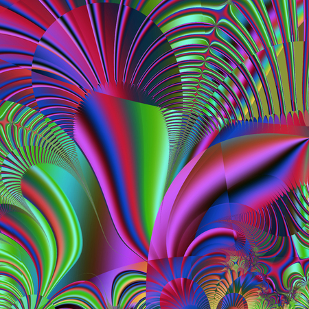 colorfully: Beautiful fractal fantastic decorative ornament style computer graphics. Stock Photo