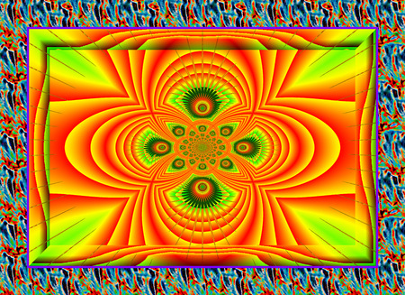 currents: Eddy currents in red-yellow-green  tones. enchanting fractal perspective.