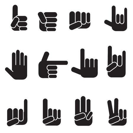 pinkie: Hands vector icons set Illustration