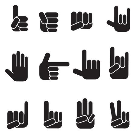 dedo meÑique: Manos iconos conjunto de vectores