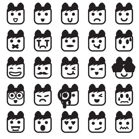 Vector icons of smiley faces Vector