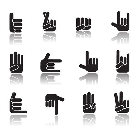 dedo meÑique: Recogida de Mano humana diferentes manos Vectores