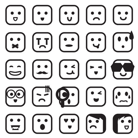 disappointed: human emotion icons Illustration