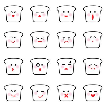 vector black bread icon set on white Vector