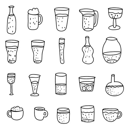 fruit smoothie: Set of various doodles hand drawn rough simple sketches of bottle.