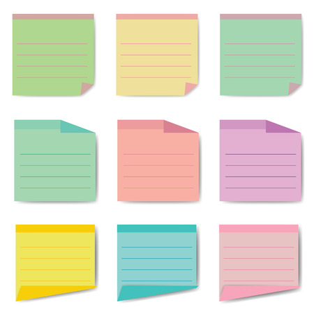 sticky: Set of different vector note papers. Illustration