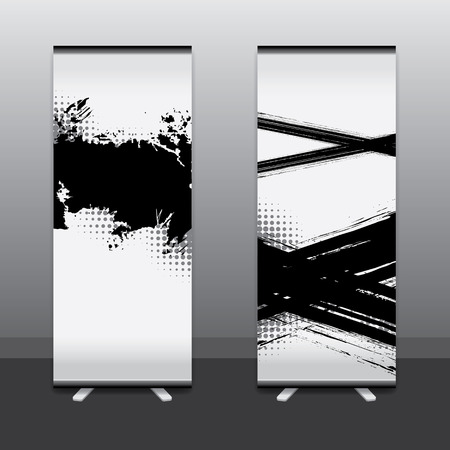 advertising design: Roll Up Banner Stand Vector
