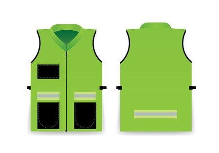 Road Vest For Safe Work. Safety Clothing With Reflective Stripes. Vector Illustration. Template For Fashion Design. Illustration