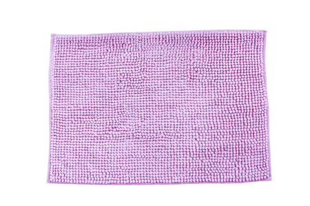 Purple cleaning feet doormat or carpet texture on white background.