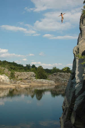 Cliff Jumping at the Potomac River in Washington DC Stock Photo