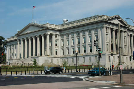 United States Treasury Department in Washington DC on Pennsylvania Ave Stock Photo