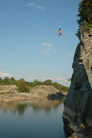 Cliff Jump Into Potomac River Stock Photo