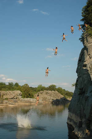 Sequence of Cliff Jump Into Potomac river