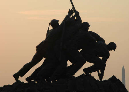 Dawn at Iwo Jima with National Monument in Background Editorial
