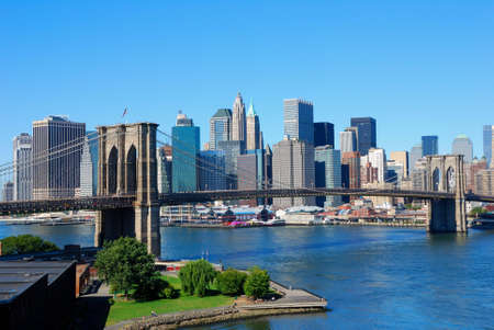 bridge over water: New York City skyline with Brooklyn Bridge Stock Photo