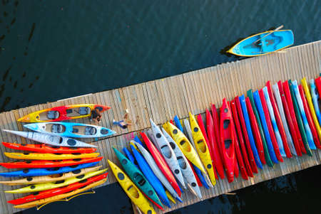 watersport: Kayaks waiting for customers on a dock in Washington DC
