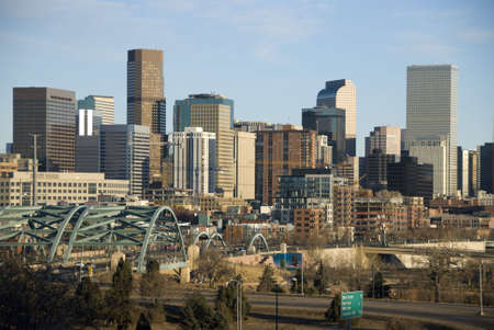 denver skyline: Denver Skyline on A Blue Sky Day Stock Photo