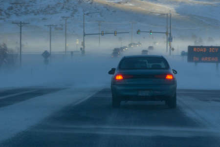 icy conditions: Icy Road and Snowy Weather