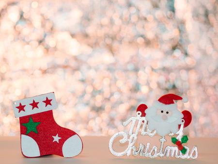 shiny background: Santa Claus Christmas stockings and shiny background Stock Photo