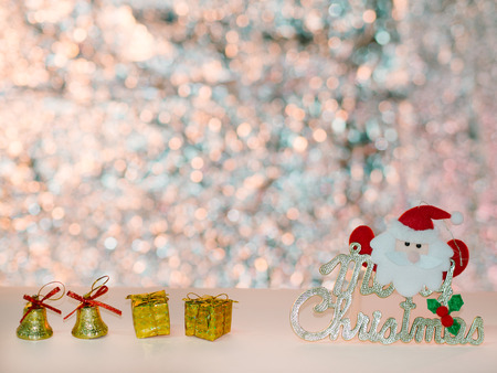 shiny background: Santa Claus and Christmas bell shiny background