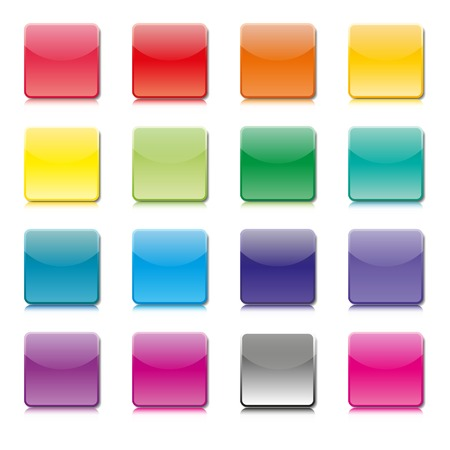 mirror image: Set of templates of colored icons with shadow and mirror image on a white background.