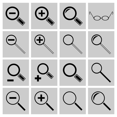 zooming: A set of flat black icons Search and zooming, illustration. Illustration