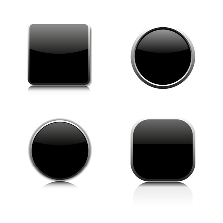 glass buttons: Set of four glass buttons of different shapes, vector illustration. Illustration