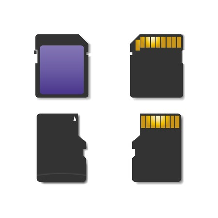sides: Stylish icons memory card, front and back sides, vector illustration.