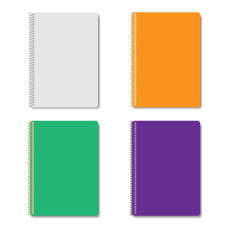 Set of four multicolored notepads fastened a metal spiral, vector illustration. Vector