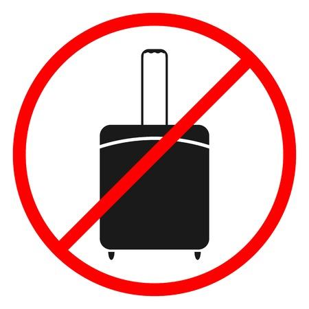 prohibits: Flat black icons on white background prohibits luggage, vector illustration. Illustration
