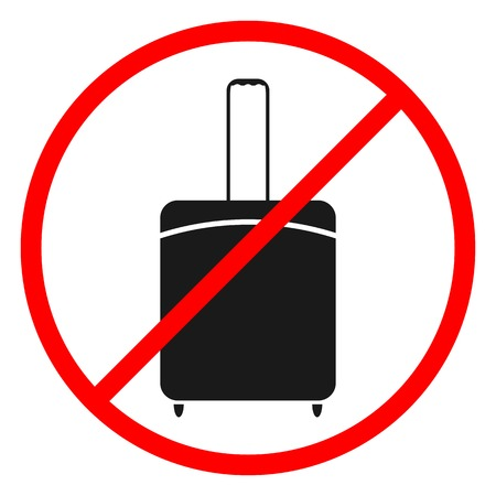 Flat black icons on white background prohibits luggage, vector illustration. Illustration