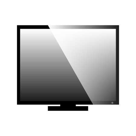 crt: Flat black and white icon of a computer monitor, vector illustration.