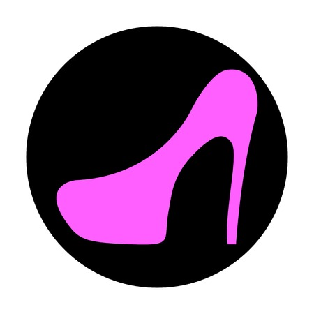 flat shoes: Icon flat shoes with heels on a black background, vector illustration.