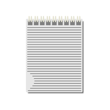 spiral notebook: Notebook with metal spiral on white background, vector illustration. Illustration