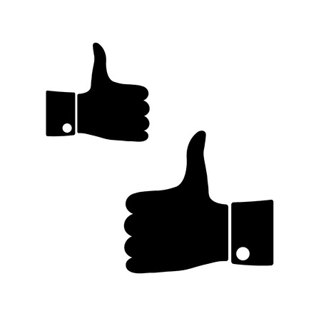 Black icons thumbs up on a white background, left and right hand, vector illustration. Vector